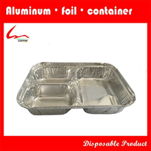 3-compartment aluminum foil container and lids
