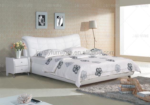 White genuine leather cover latest design couple bed sets S185