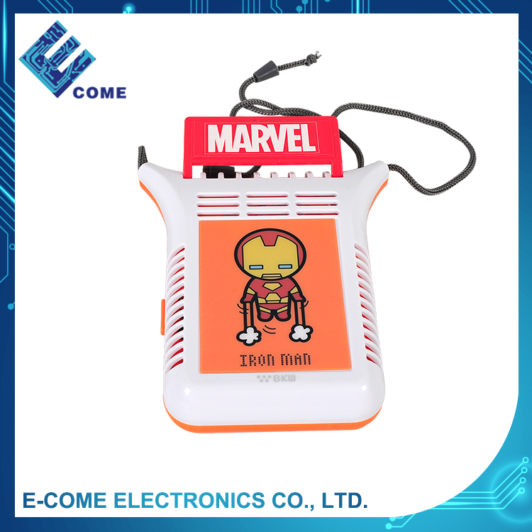 DC 3V battery operated cooler orange iron man design of plastic mini table air cooling fan