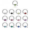 Stainless steel captive bead nose rings flat ball closure ring nipple piercing rings