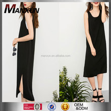 Casual Appreal Europe Sexy Style Knit Fabric Fashion Wear Girls Clothing Slit On Side Plain Color Short Dress Sleeveless Dress