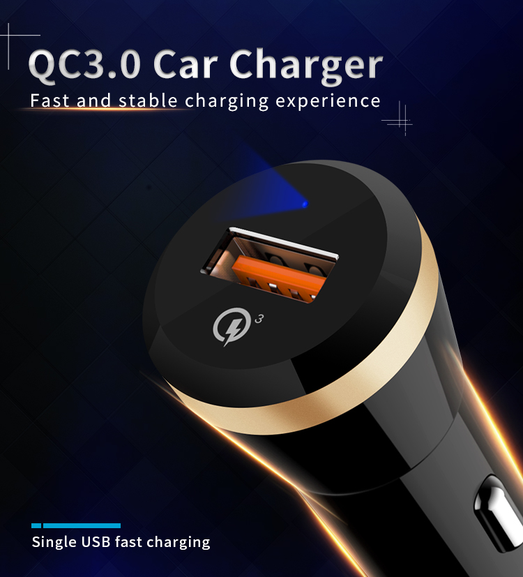 One USB Car Charger 18W Quick Charger 3.0 Fast Charging for Smart Phone