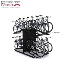 2 layers black metal bike & bicycle display stand