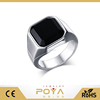POYA Jewelry Fashion Stainless Steel Black Agate Ring for Mens Womens Wedding Engagement Promise