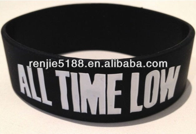 "All Time Low Bracelet Wristband, Silicone Band with debossed logo ,The Wanted Bracelet 1"" Chunky !"