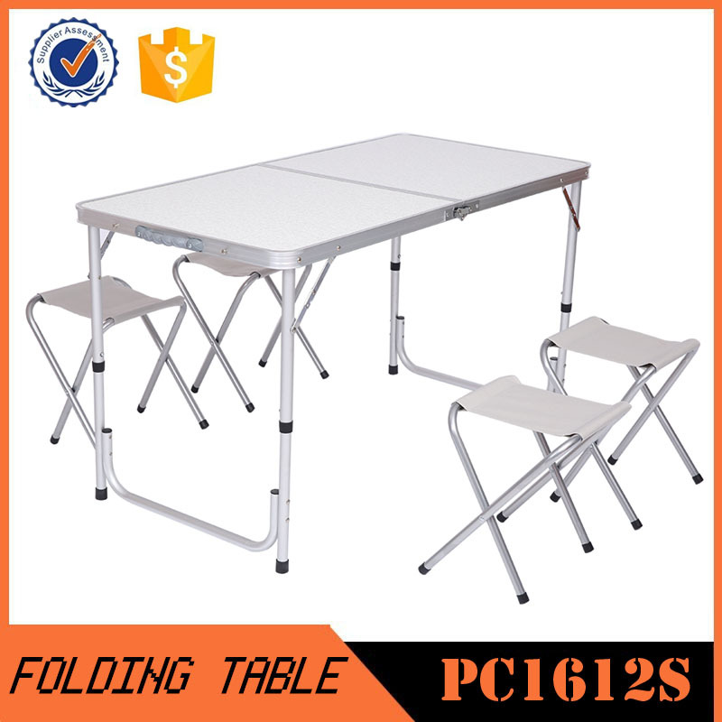 2016 Fashion most popular camping aluminum folding table and four folding chairs PC1612S