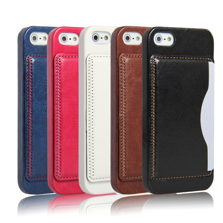 New Premium Credit card back cover leather case for iphone 5/5s/se