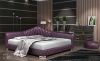 JR9027 2015 new purple leather modern fancy leather soft bed factory looking for sale agent for modern furniture wholesaler
