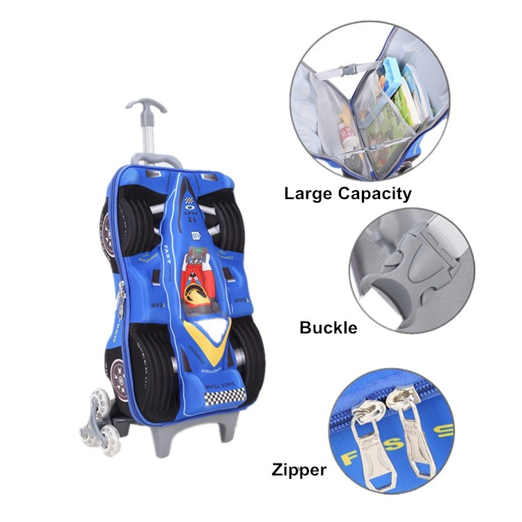 Lovely 3d cartoon printed car shaped children school bag wholesale