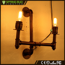 Manufacture Vintage Industrial Double PIPE Edison wall Lamp bulb iron tube light fixture