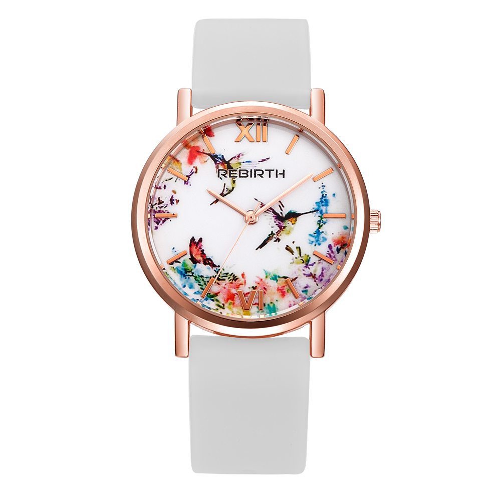 REBIRTH RE062 Pretty Lady Draw Dial Women Watch Flower Bird Rose Gold Wristwatch For Female Leather Strap Analog Lady Watches