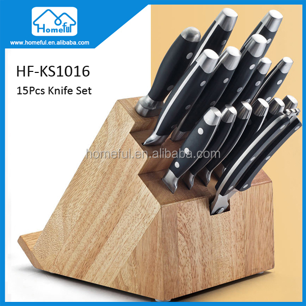 15Pcs Complete Kitchen Knife Set With Block