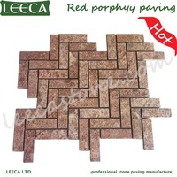 Flamed walkway pattern paving stones