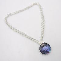 Druzy Design Bright Silver Circle Mood Necklace