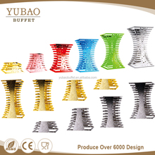 Colorful Hammered stainless steel catering buffet elevations food buffet display risers, buffet display for sale