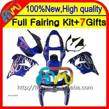 White flames blue Body For KAWASAKI NINJA ZX9R 00-01 00 01 CL1749 ZX-9R Body ZX 9R 9 R ZX9 R White 00 01 2000 2001 Fairing
