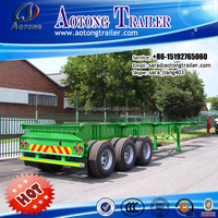 China 3 axle 20ft skeleton container semi trailer / 40ft container trailers truck in Africa
