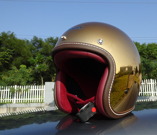 new chrome open face helmet half face helmet shining classical and vintage design