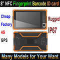 Cheap Factory 8 inch rugged tablet pc with ID card module & QR Code barcode scanner rugged tablets