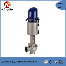 sanitary stainless steel pneumatic flow control valve with positioner