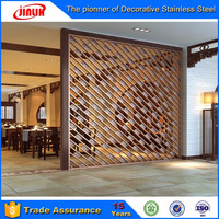 Carved screens champagne stainless steel restaurant laser hollow wall panel