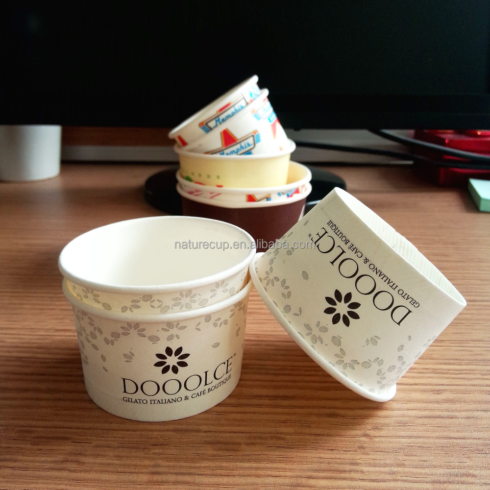 disposable ice cream cup paper bowl with custom logo printed 4oz 120ml color bowl
