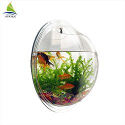 Modern Customized Wall Mounted Clear Round Acrylic Fish Tank