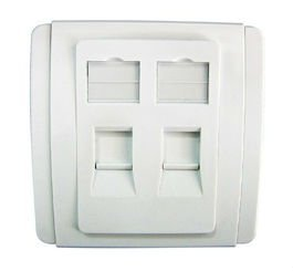 Slim Stylish 2-Port Shuttered Face Plate, 86 Type, Gloss Polycarbonate Finish, White Plate w. White Surround