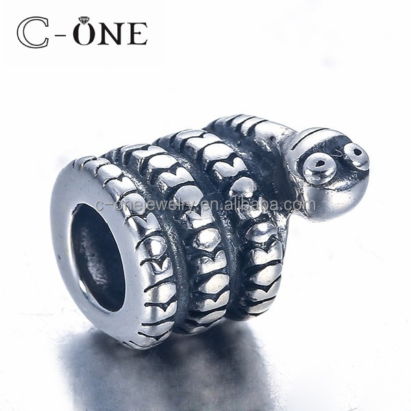 925 sterling silver jewelry animal snake charm beads fit metal bracelet odm