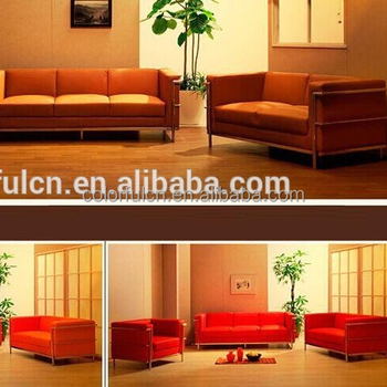 Stainless Steel Genuine Leather Waiting Sofa Office Sofa Furniture 8143
