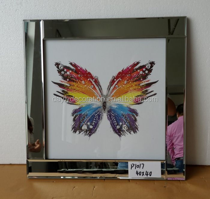 glitter butterfly square mirror picture frame
