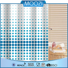 Blue dot printed water proof polyester shower curtain fabric