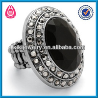 black and grey crystal expandable custom ring