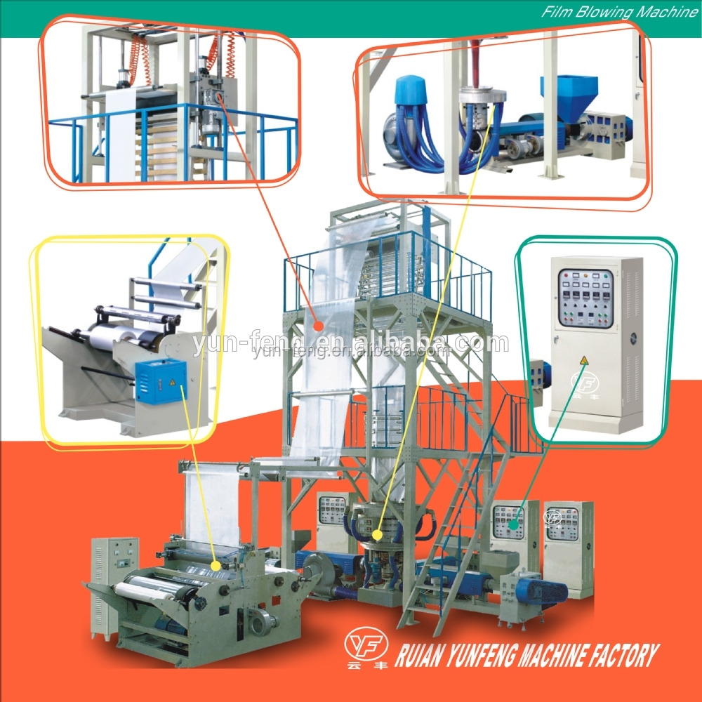 double rewinder film blowing machine extruder 3-layer co-extrusion