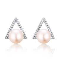 Hot Sale ! SJ Provider SJH66 Christmas Gift Triangle Shape 925 Sterling Silver Good Cut Zirconia Platinum Plated Pearl Earring