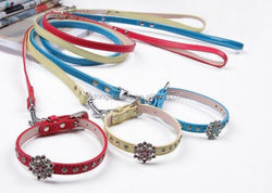 Popularity nice pu leather dog products puppy goods pet collars and leashes