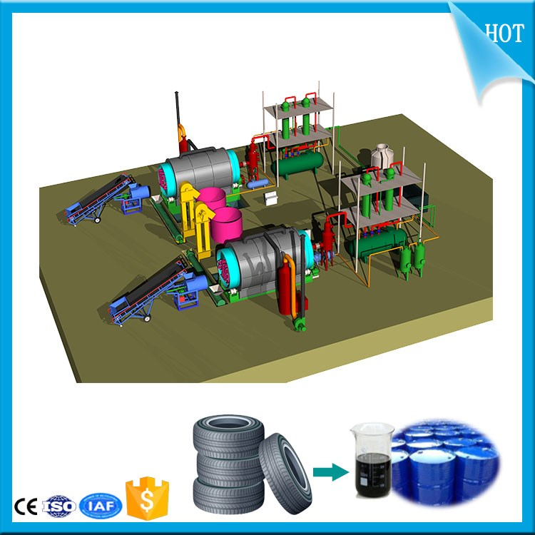 20T Continuous Convert plastic to diesel_Waste tire pyrolysis to fuel plant