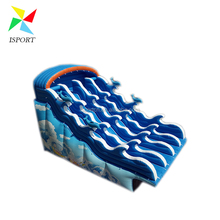 giant inflatable wave slide with metal frame pool / Giant Adult Size Inflatable Water Slide For Frame Pool