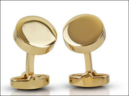 Gold Thick Circular Engraved Cufflinks