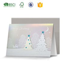 Laser 3D handmade greeting card for Merry Christmas season's greeting card with new year of reindeer Christmas printing design