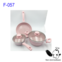pink marble coating cookware set induction bottom forged aluminum stone-coated fry pan sauce pot milk pan