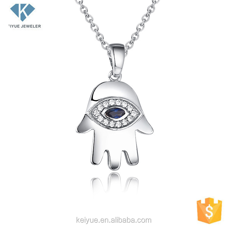 Halloween blue marquise cut stone evil eye ghost pendant jewelry with cz