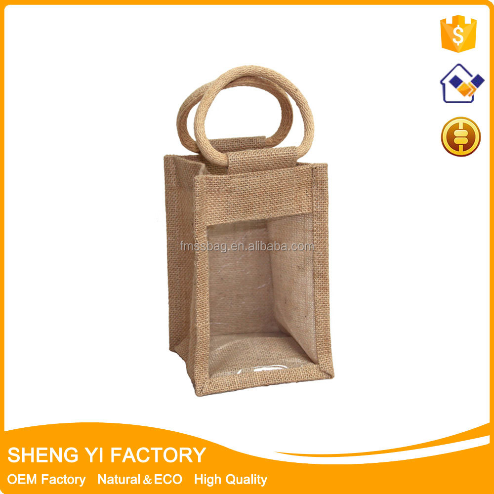 Jute wine bag/ single Bottle Wine Bag Jute/ Eco-friendly Wine Tote