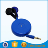Cheap good earbuds noise cancelling colorful retractable earbud