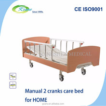 Long term care bed with 2 functions manual lift up for home use