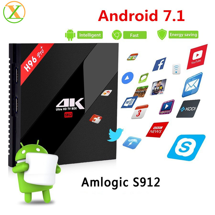 H96 pro+ Amlogic S912 Android 7.1 4K Tv Box H96 Pro S912 Android 7.1.1 Tv Box 3G/32G full hd 1080p android tv box media player