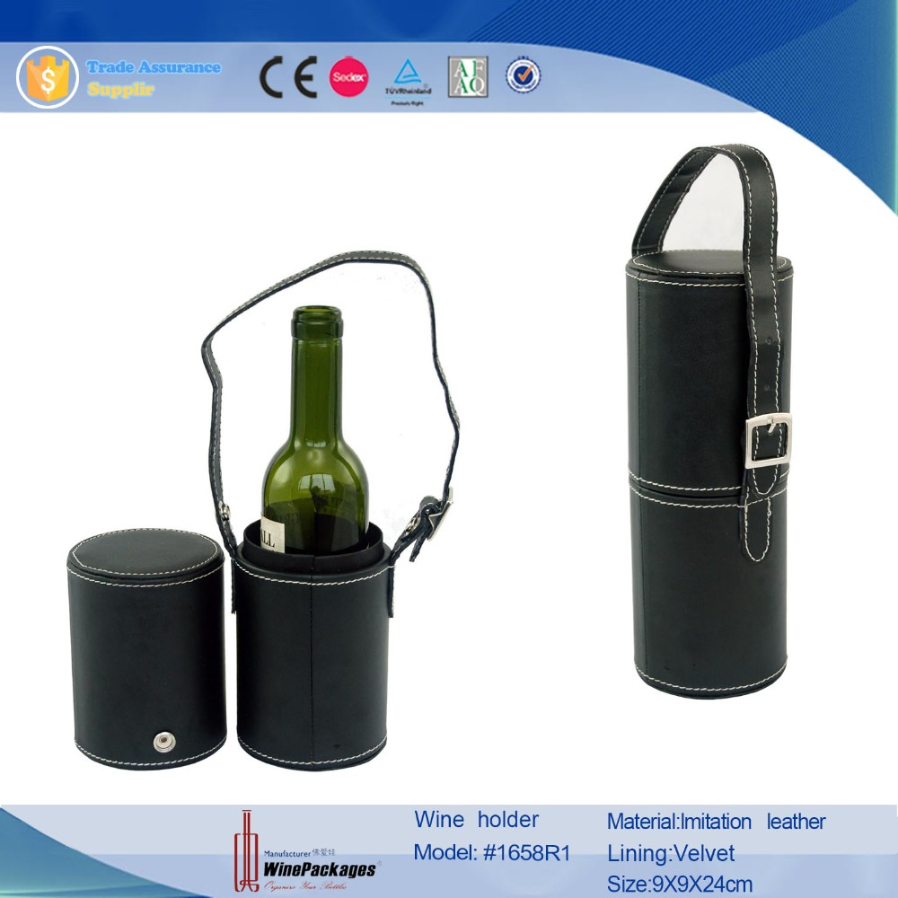 Customizable portable leather wine gift box with removable lid