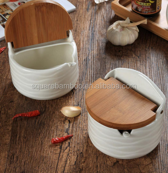 bamboo ceramic round salt pepper box with spoon