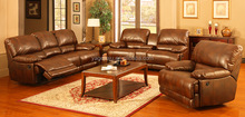 Drawing room heated classic reclining leather sofa set