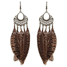 Elegant fashion women tassel feather retro alloy bronze plated earrings